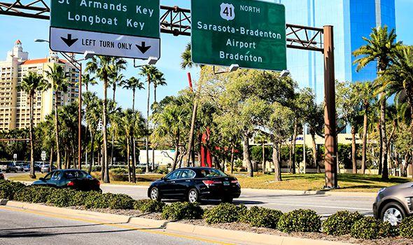 Sarasota, Bradenton car sign for dangerous road service page
